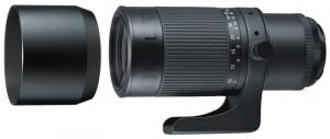 200mm F4レンズ<ニコン用:キヤノン用>。付属フード、Tマウントを装着