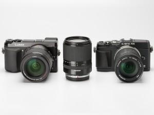 左からパナソニック「LUMIX G VARIO 14-140mm F3.5-5.6 ASPH. POWER O.I.S.」(装着ボディはLUMIX DMC-GX7)、タムロン「14-150mm F:3.5-5.8 Di III」、オリンパス「M.ZUIKO DIGITAL ED 14-150mm F4-5.6」(同OLYMPUS PEN E-P5)