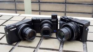 左からソニーのRX100 III、パナソニックのLX100、キヤノンのG7 X