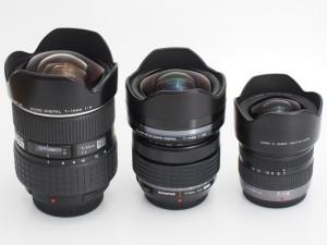 左からZUIKO DIGITAL 7-14mm F4、M.ZUIKO DIGITAL 7-14mm F2.8 PRO、LUMIX G VARIO 7-14mm F4 ASPH